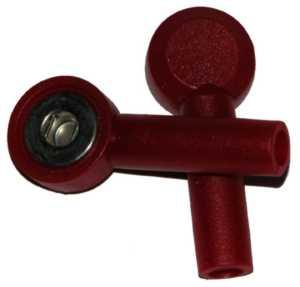Tryckknapp - 4mm's hona, Röd