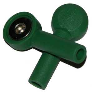 Tryckknapp - 4mm's hona, Grön